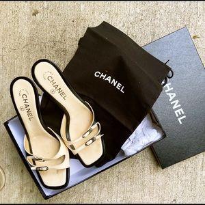 Authentic Chanel Camellia Kitten Mule Sandal 38